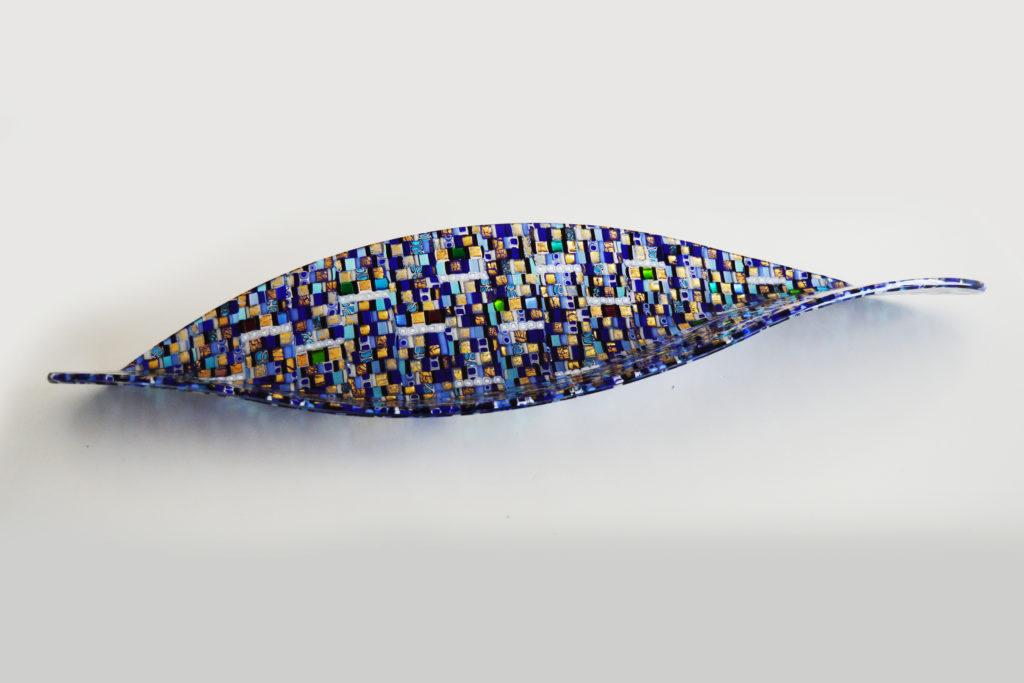 Galeon Sole Luna blue glass sculpture