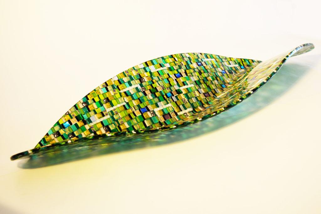 Galeon Sole Luna green glass sculpture