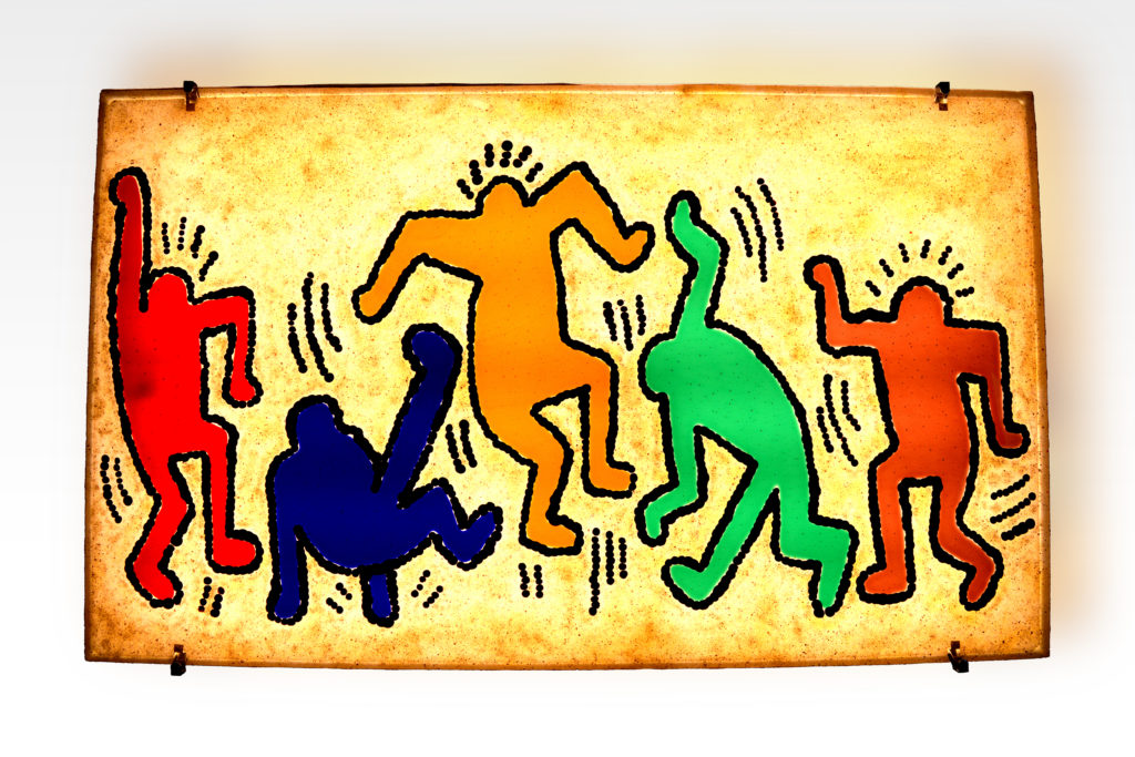 Keith Haring glass panel
