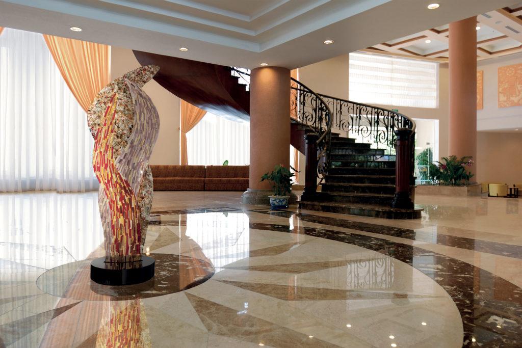 Flame glass sculpture