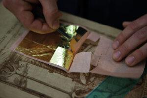 murano glass working gold leaf